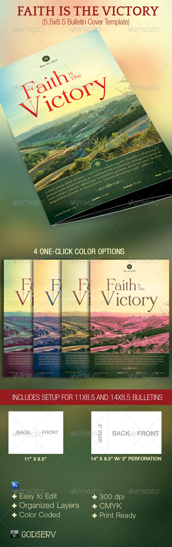 Faith Victory Church Bulletin Template - Miscellaneous Print Templates