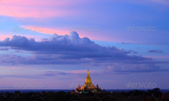 ananda temple at twilight, Bagan, Myanmar - Stock Photo - Images