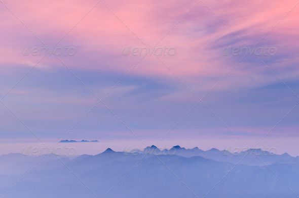 Morning Mist at Tropical Mountain Range at sunrise, Chiangmai,Thailand  - Stock Photo - Images