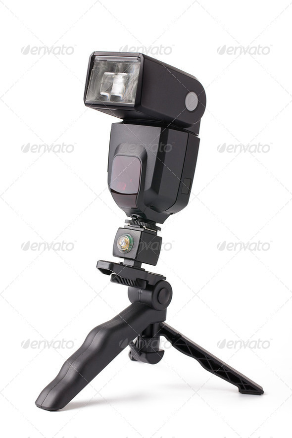 Camera flash on stand - Stock Photo - Images