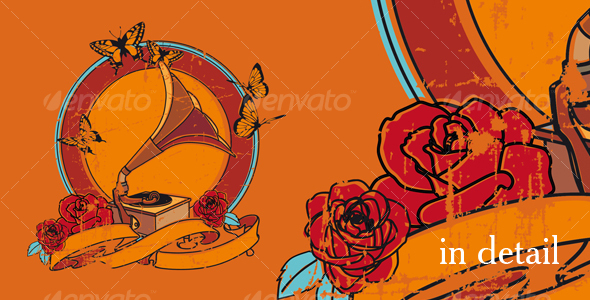 Vintage vignette with gramophone and roses - Backgrounds Decorative