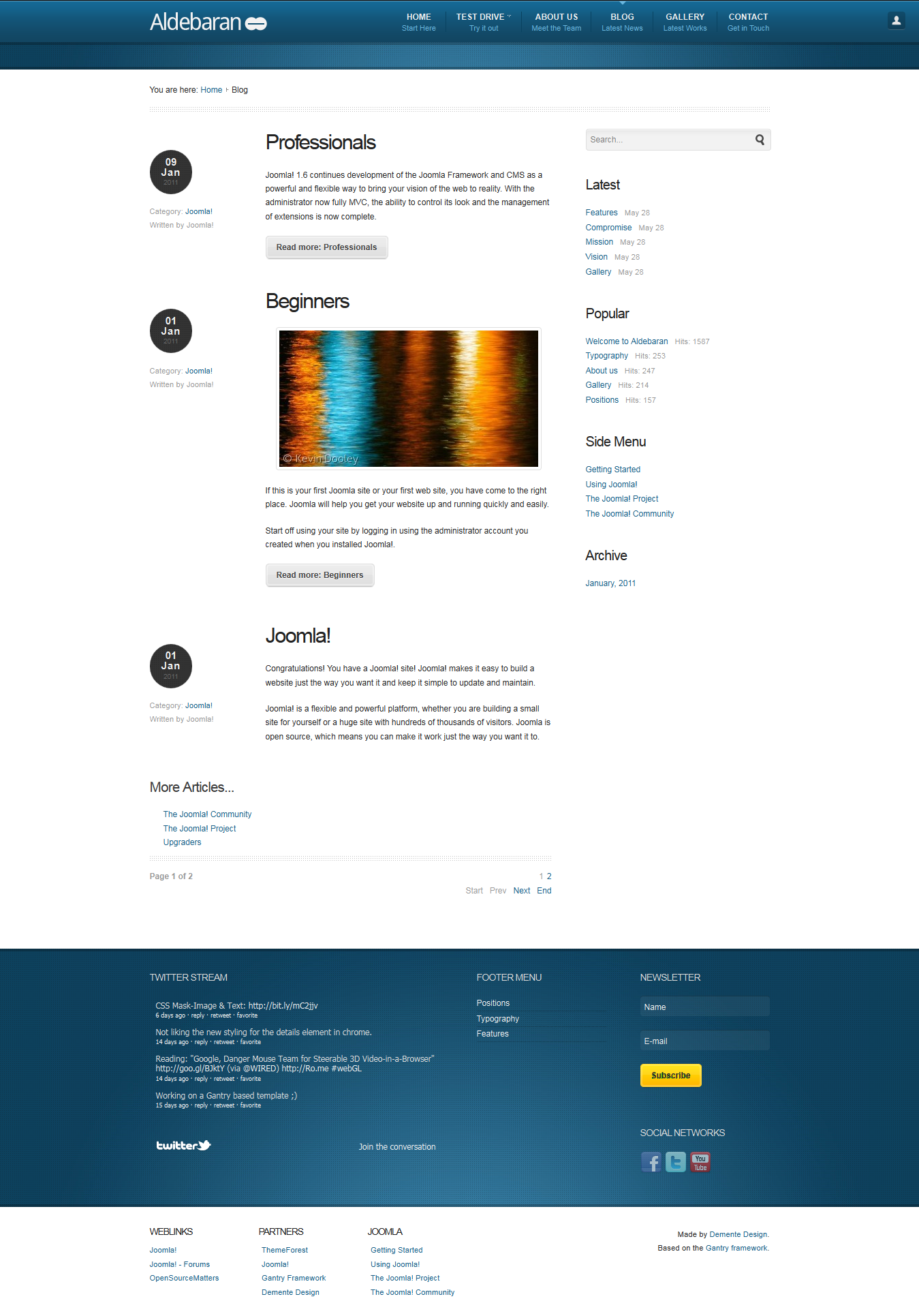 Aldebaran - Joomla 1 6 Business Template