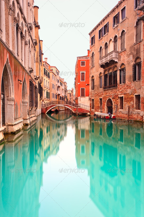 Venice, Canal with bridge detail. Long exposure photography. - Stock Photo - Images