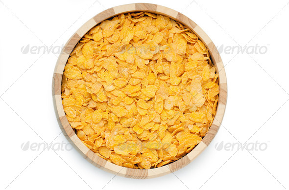 cornflakes in bowl - Stock Photo - Images