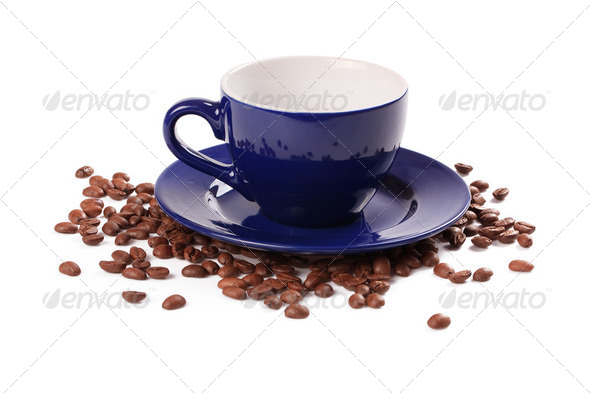 coffee beans and coffee cup - Stock Photo - Images
