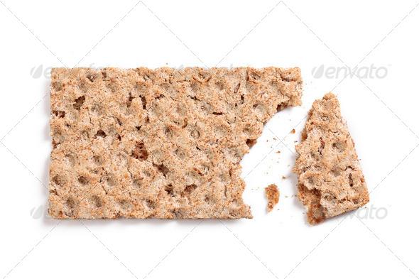 bitten crispbread - Stock Photo - Images