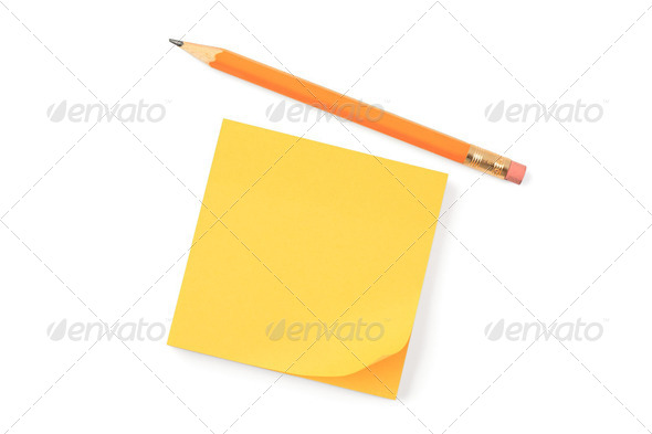 yellow notepaper - Stock Photo - Images