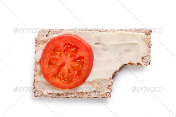 crispbread with tomato - Stock Photo - Images