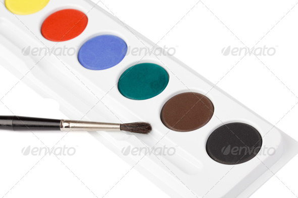 watercolor paint and brush - Stock Photo - Images