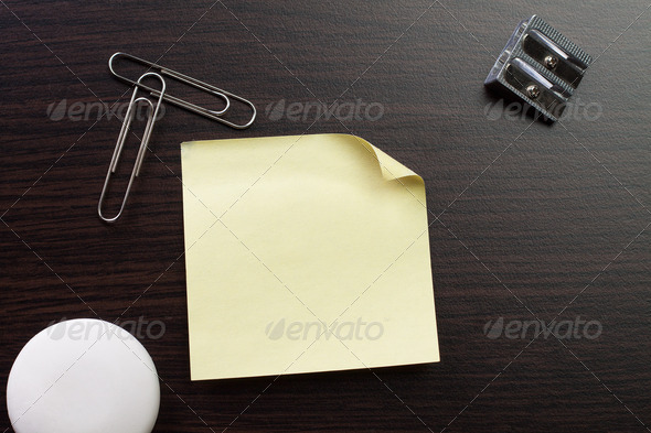 Blank Sticker And Stationery On Brown Table - Stock Photo - Images