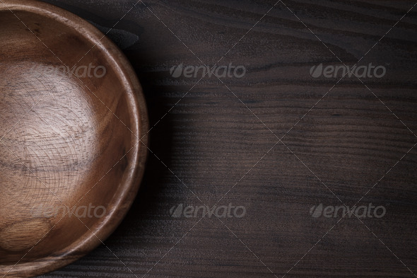 Wooden Salad Bowl On The Brown Table - Stock Photo - Images