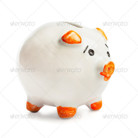 Piggy bank  isolated - Stock Photo - Images