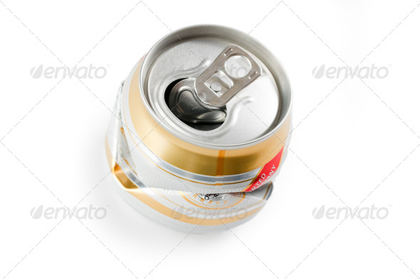 crushed beer can - Stock Photo - Images