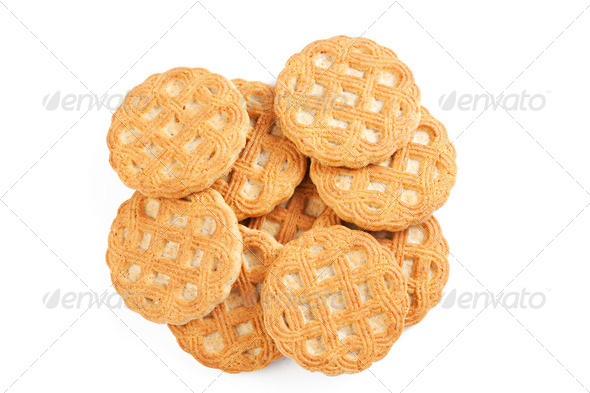 sweet cookies on white background - Stock Photo - Images