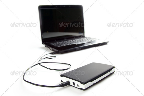 external hard disc connect to laptop - Stock Photo - Images