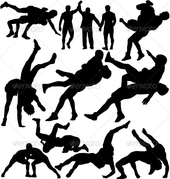 Wrestlers fighting and referee vector silhouettes - Sports/Activity Conceptual