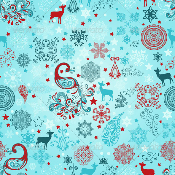 Vector Seamless Christmas Pattern - Patterns Decorative