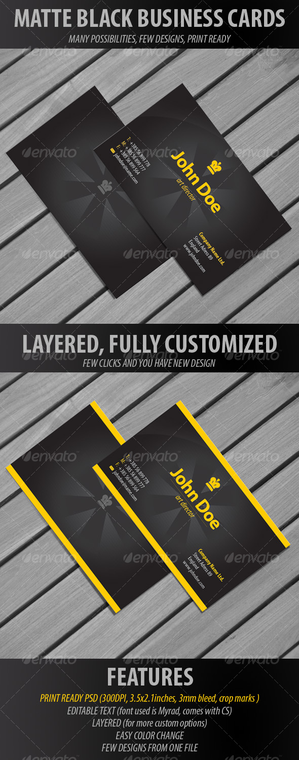 Matte Black Business Cards by ranezinjo GraphicRiver