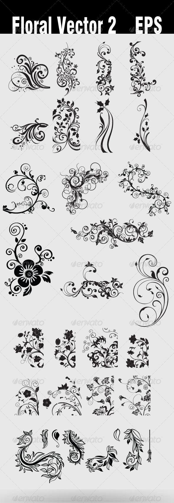 Floral Vector 2 EPS - Flourishes / Swirls Decorative