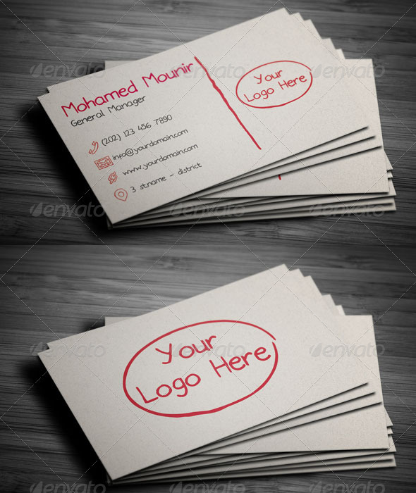 Sketchy Hand Written Business Card - Corporate Business Cards