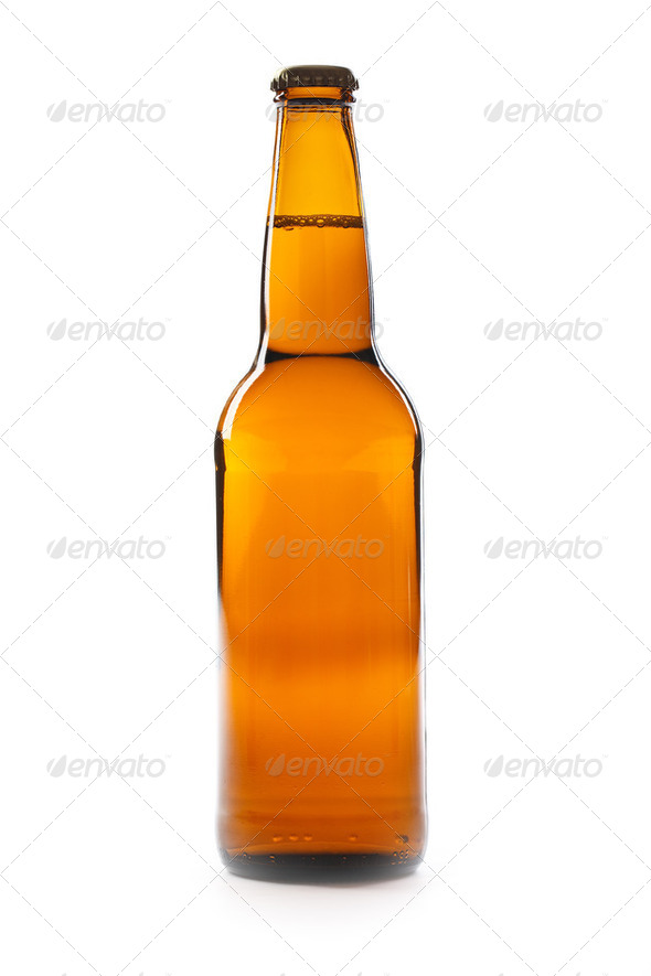 Brown bottle of beer - Stock Photo - Images