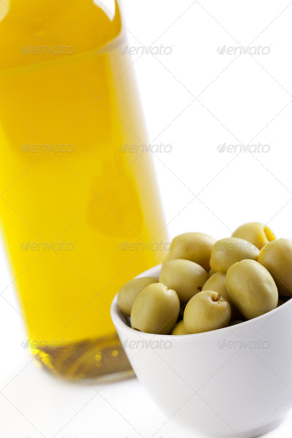 olives and olive oil - Stock Photo - Images