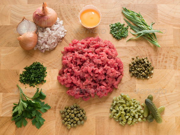 Ingredients for Steak Tartare - Stock Photo - Images