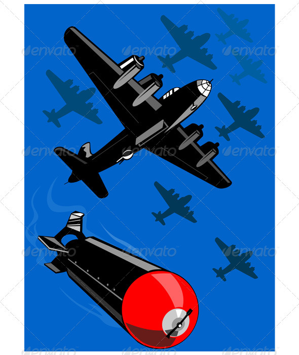 World War Two Bomber Airplanes Drop Bomb Retro - Man-made Objects Objects