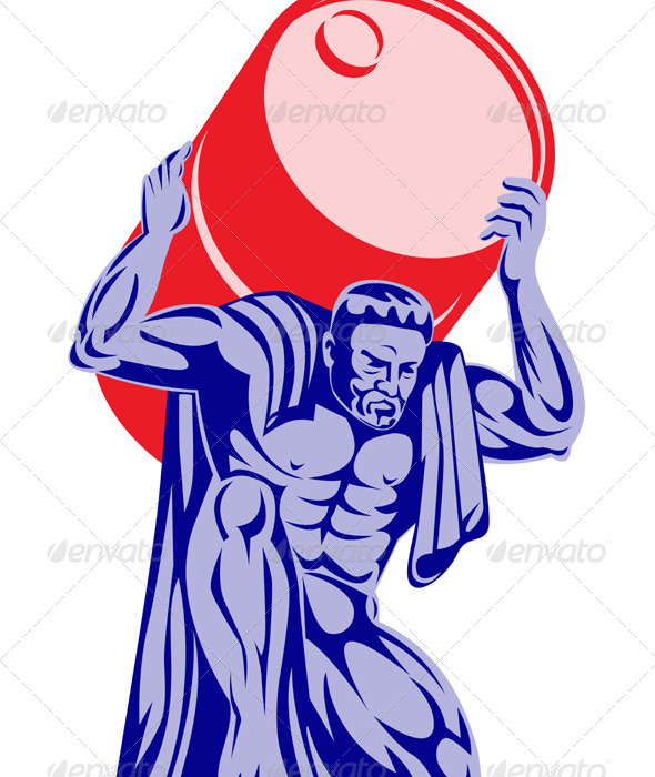 Atlas Carrying Barrel Drum of Oil Retro  - People Characters