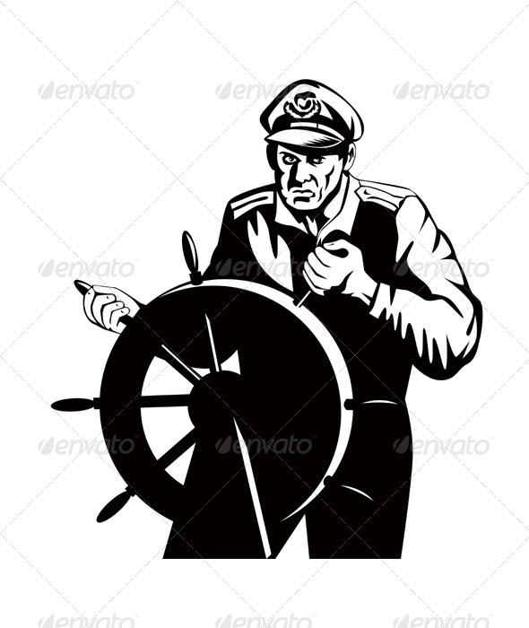 Fisherman Sea Captain At Helm Retro  - People Characters