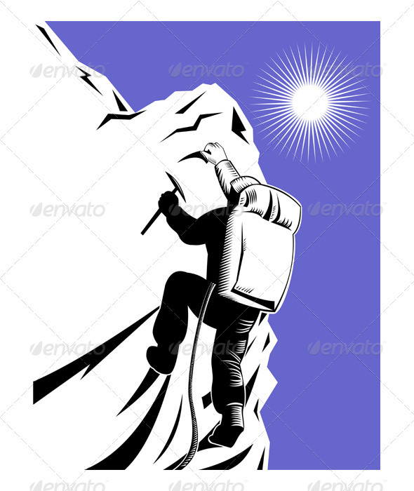 Mountain Climber Climbing Retro - Sports/Activity Conceptual