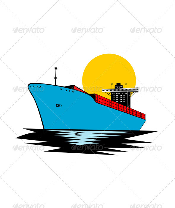 Container Ship Cargo Boat Retro - Man-made Objects Objects