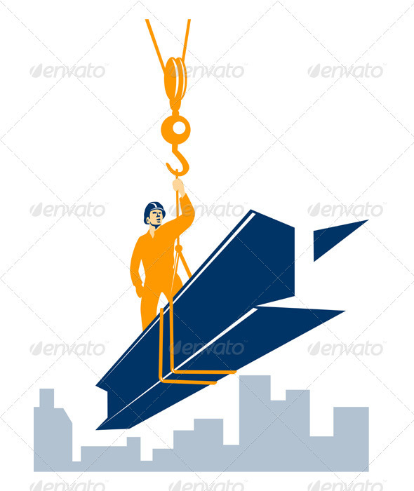 Construction Worker I-Beam Girder  - Industries Business