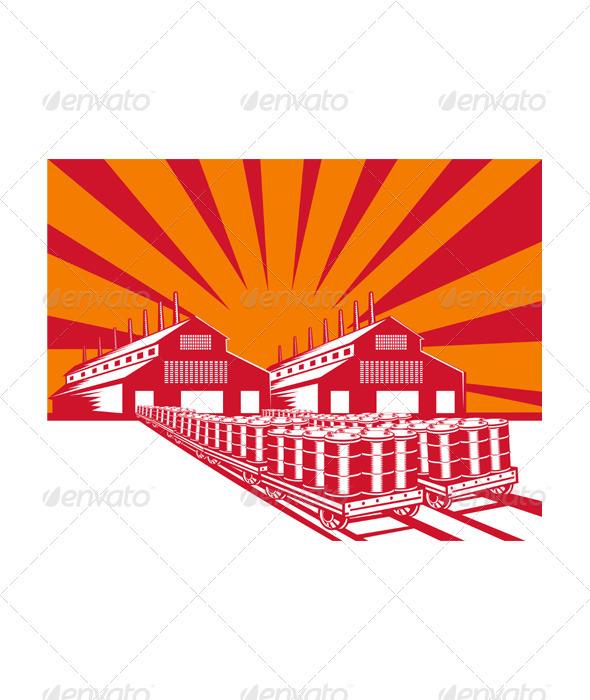 Factory Building Oil Drum Barrel Retro  - Industries Business