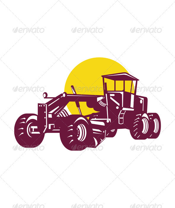 Vintage Road Grader Retro - Man-made Objects Objects