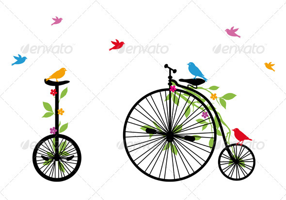 Birds On Old Bicycle, Vector Illustration - Animals Characters