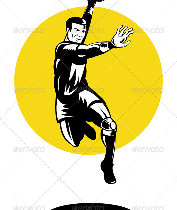 Handball Player Jumping Retro - Sports/Activity Conceptual