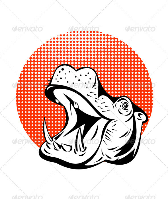 Hippopotamus Head Retro - Animals Characters