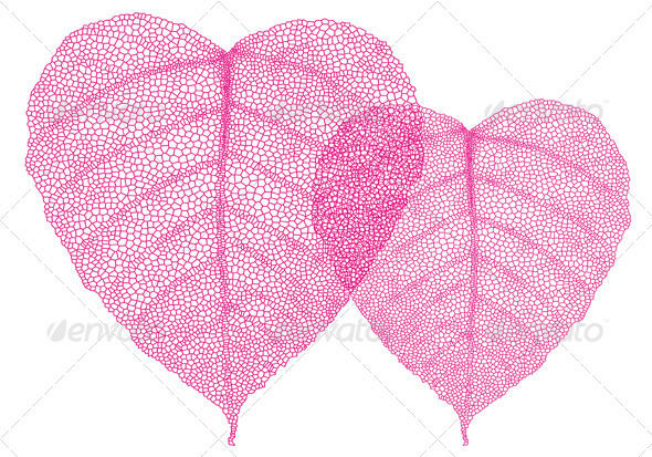Red Heart Leaves, Vector - Valentines Seasons/Holidays