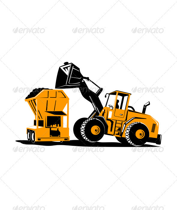 Front End Loader Digger Excavator Retro  - Man-made Objects Objects