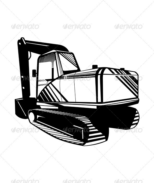 Mechanical Digger Excavator Retro  - Man-made Objects Objects