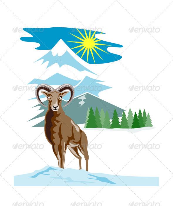 Mouflon Sheep Mountain Goat - Animals Characters