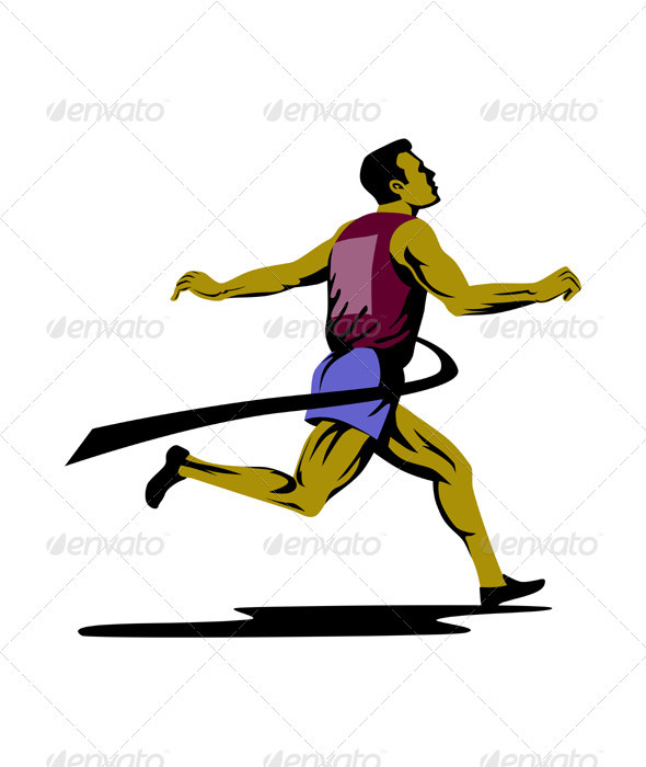 Marathon Runner Athlete Running Finish Line  - Sports/Activity Conceptual
