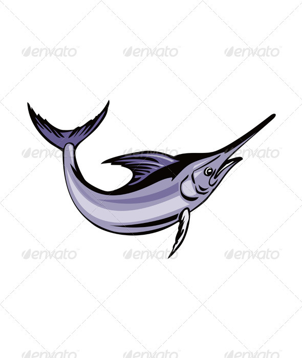Blue Marlin Fish Jumping Retro - Animals Characters