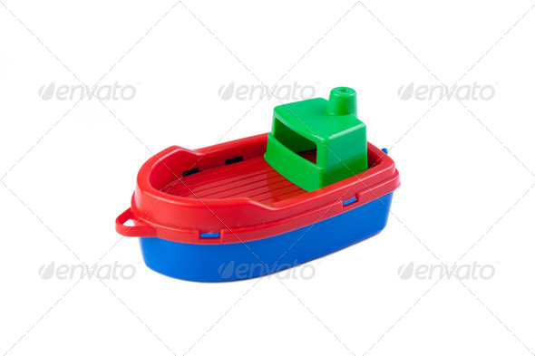 plastic toy boat - Stock Photo - Images