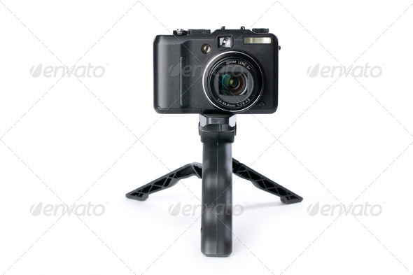 digital camera on tripod - Stock Photo - Images