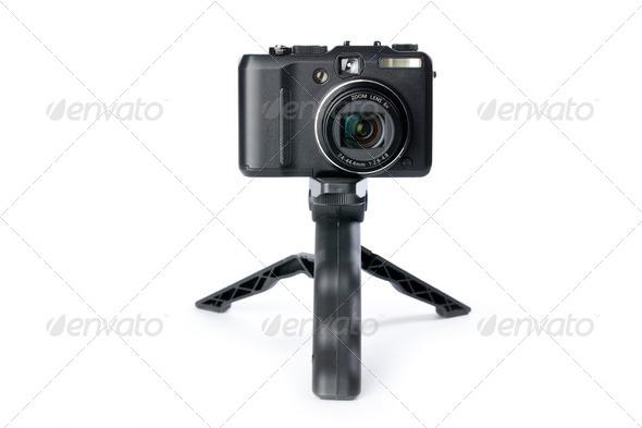 digital camera on tripod - Stock Photo - Images