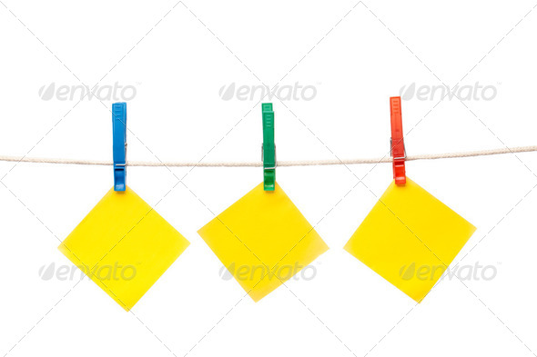 notepaper hanging on clothesline - Stock Photo - Images