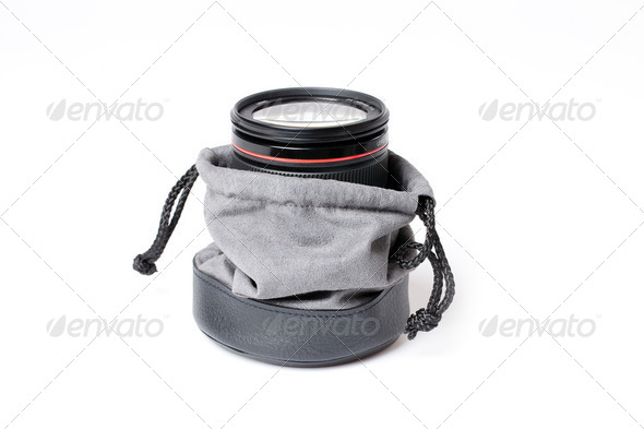 lens in lens case - Stock Photo - Images