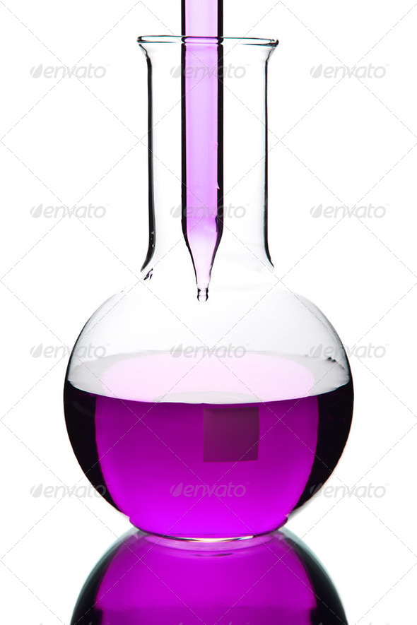 liquid dripping from pipette into flask isolated - Stock Photo - Images